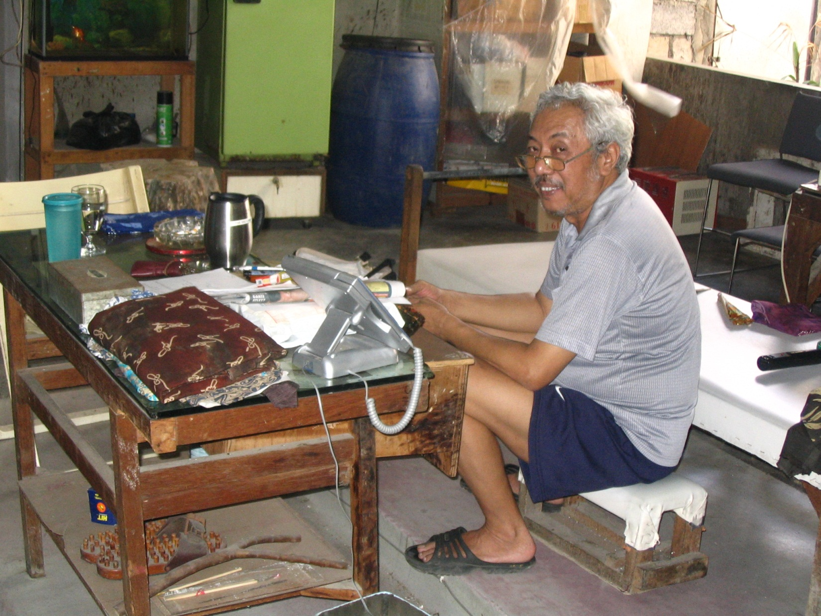 "And here is the late Benny Gunawan…dye technician and the *brains* behind the factory (also known as ""The Bali Lama"")"