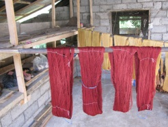 Morinda can range in color from gold to deep red. As with indigo, the color intensifies the more the fibers are exposed to the dye.