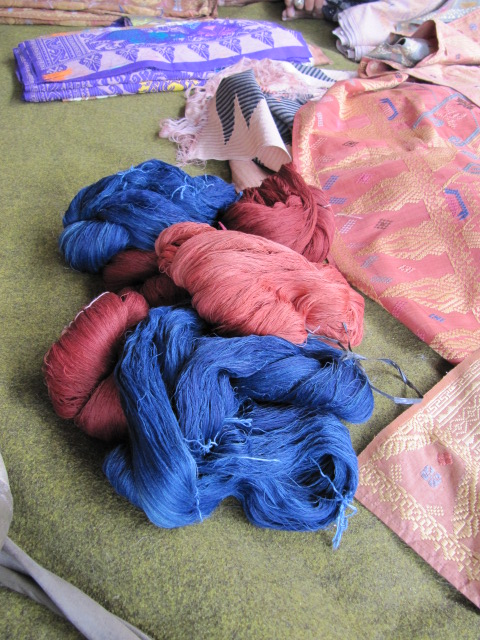 Silk threads dyed with indigo and morinda dyes will be woven into ceremonial cloths.