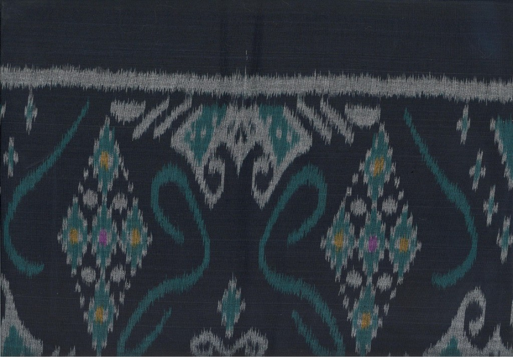 A typical ikat design. On average a weaver can produce two meters of ikat in an 8-hour day. This fabric sells retail for between $7 and $14 a meter.