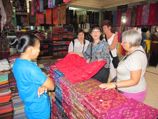Shopping for ikat in Klungkung Traditional Market (East Bali).